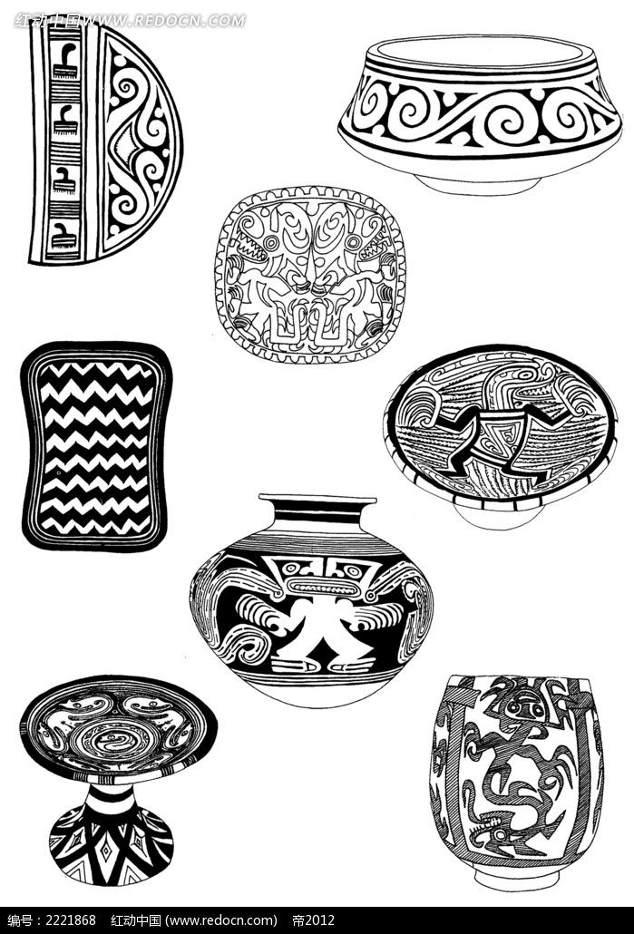 古典装饰花纹图案陶瓷罐素材