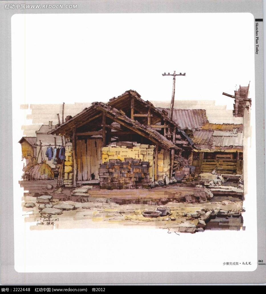 小木屋民居手绘摄影图片