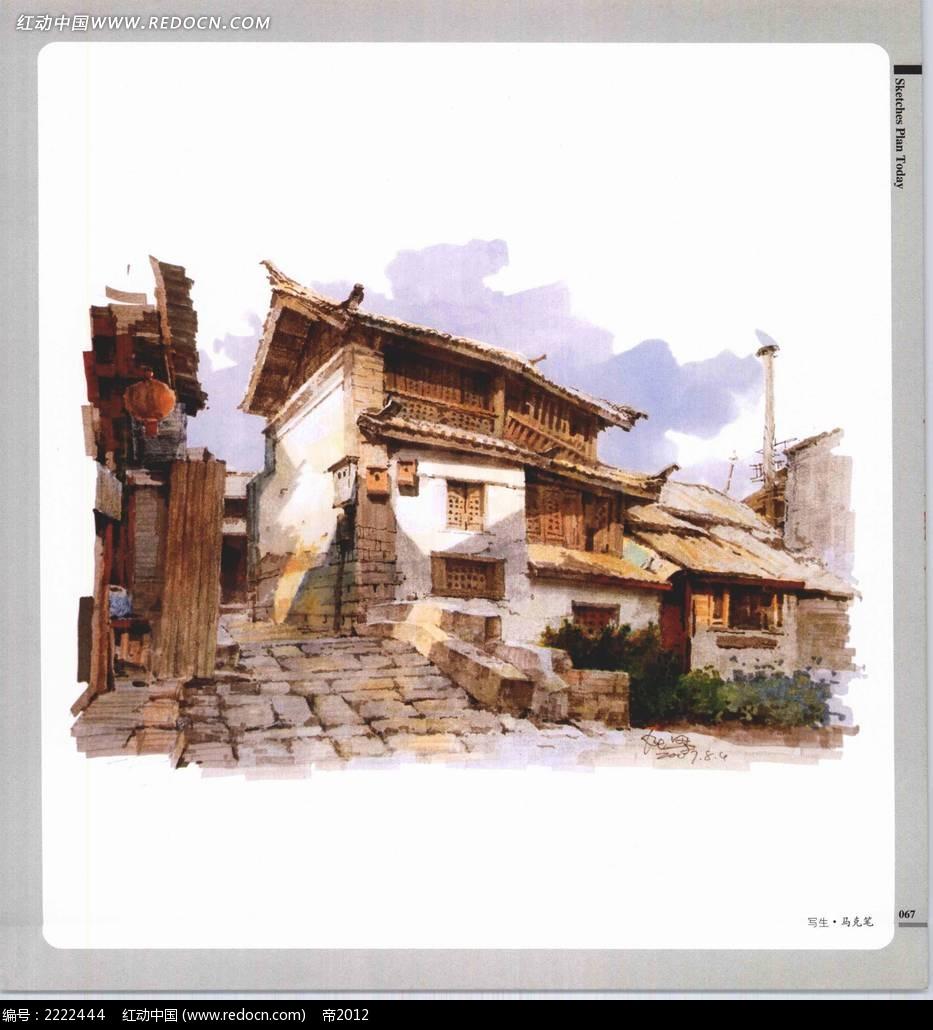 写生手绘民居摄影图片
