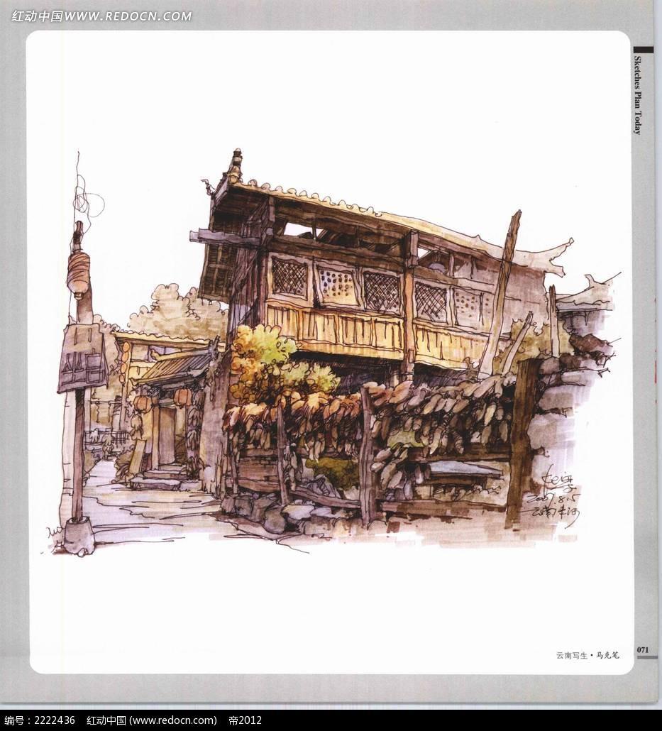 楼牌古建筑手绘上色图_自然风景图片
