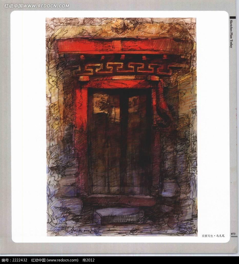 古建筑门头手绘上色图图片