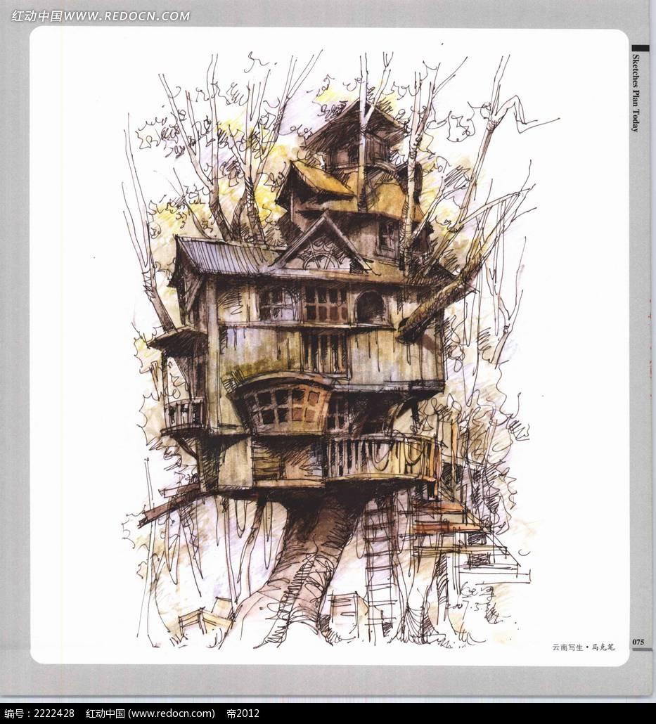 树上的古建筑手绘上色图