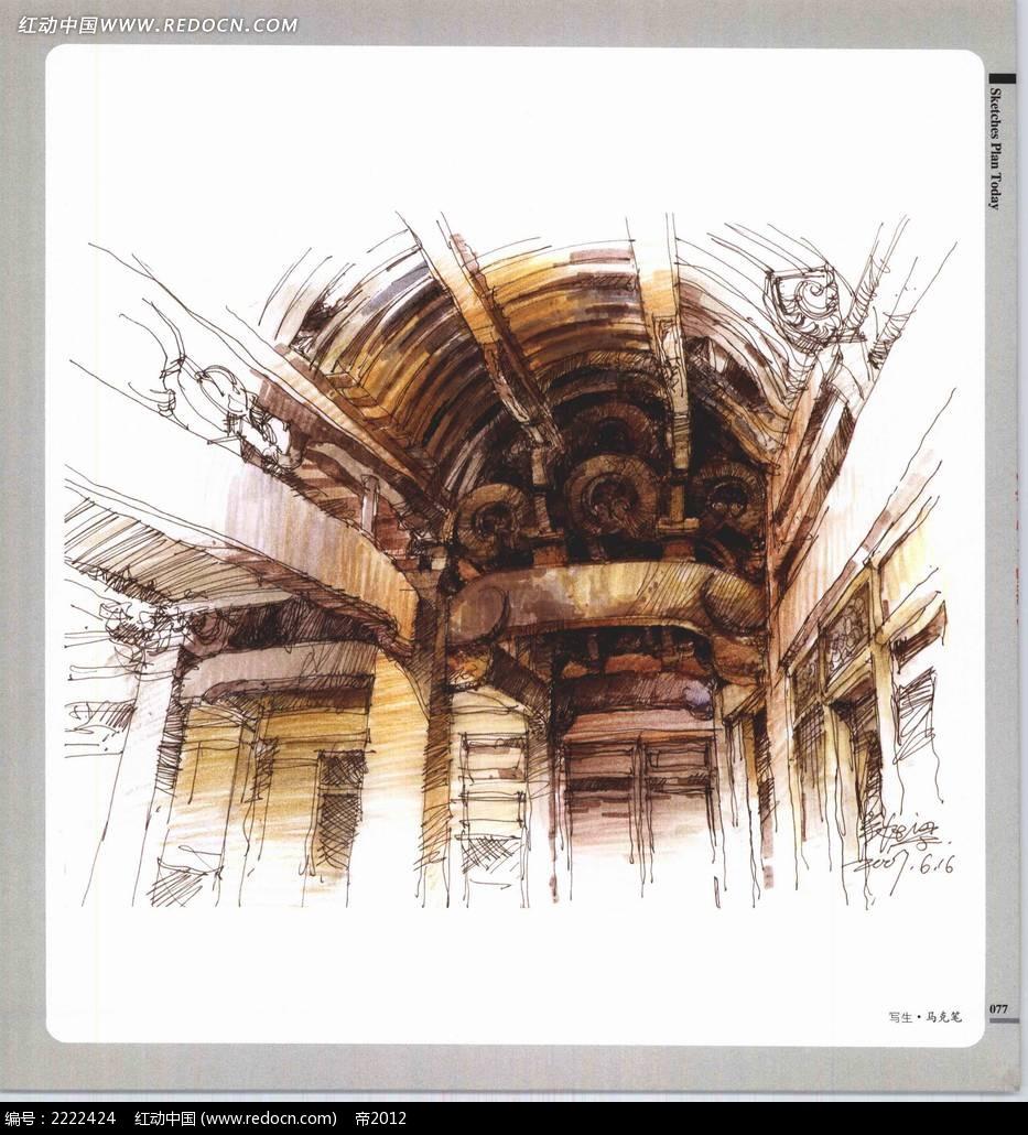 老房子房梁结构手绘上色图