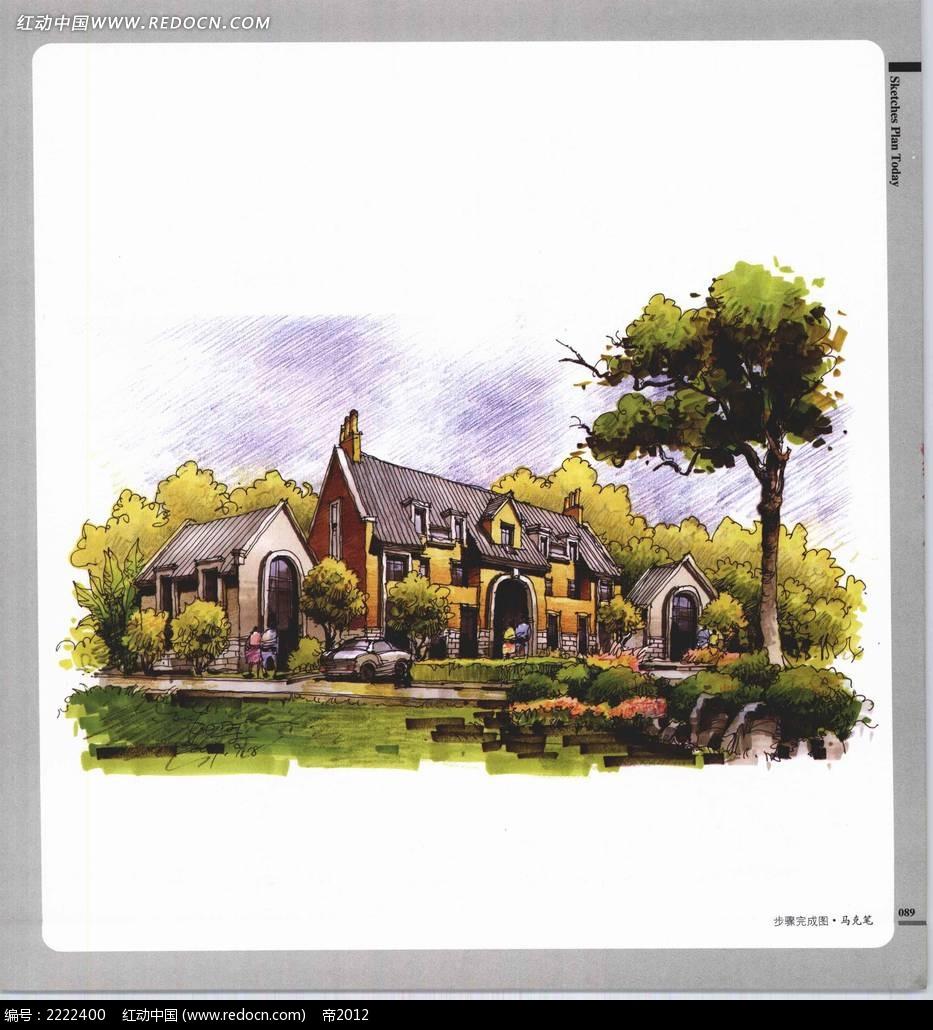 临湖别墅景观手绘上色图