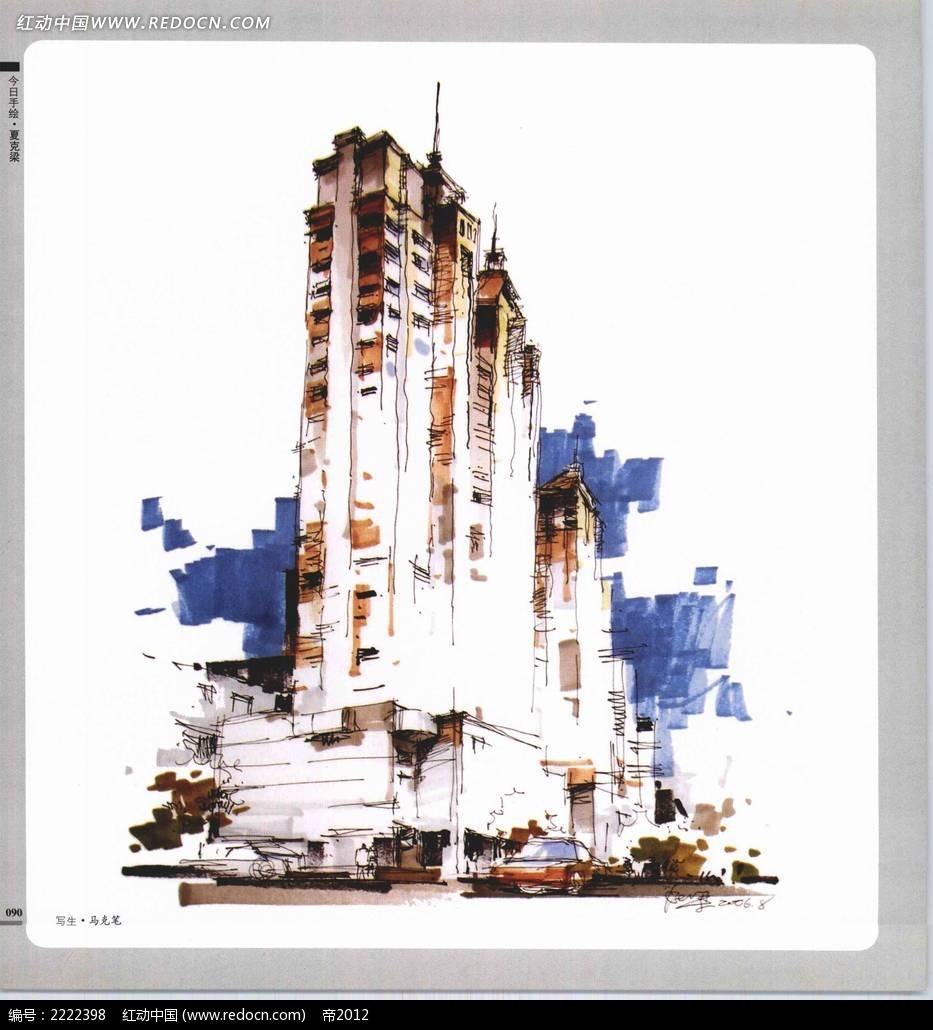 今日手绘夏克梁城市高楼图片素材