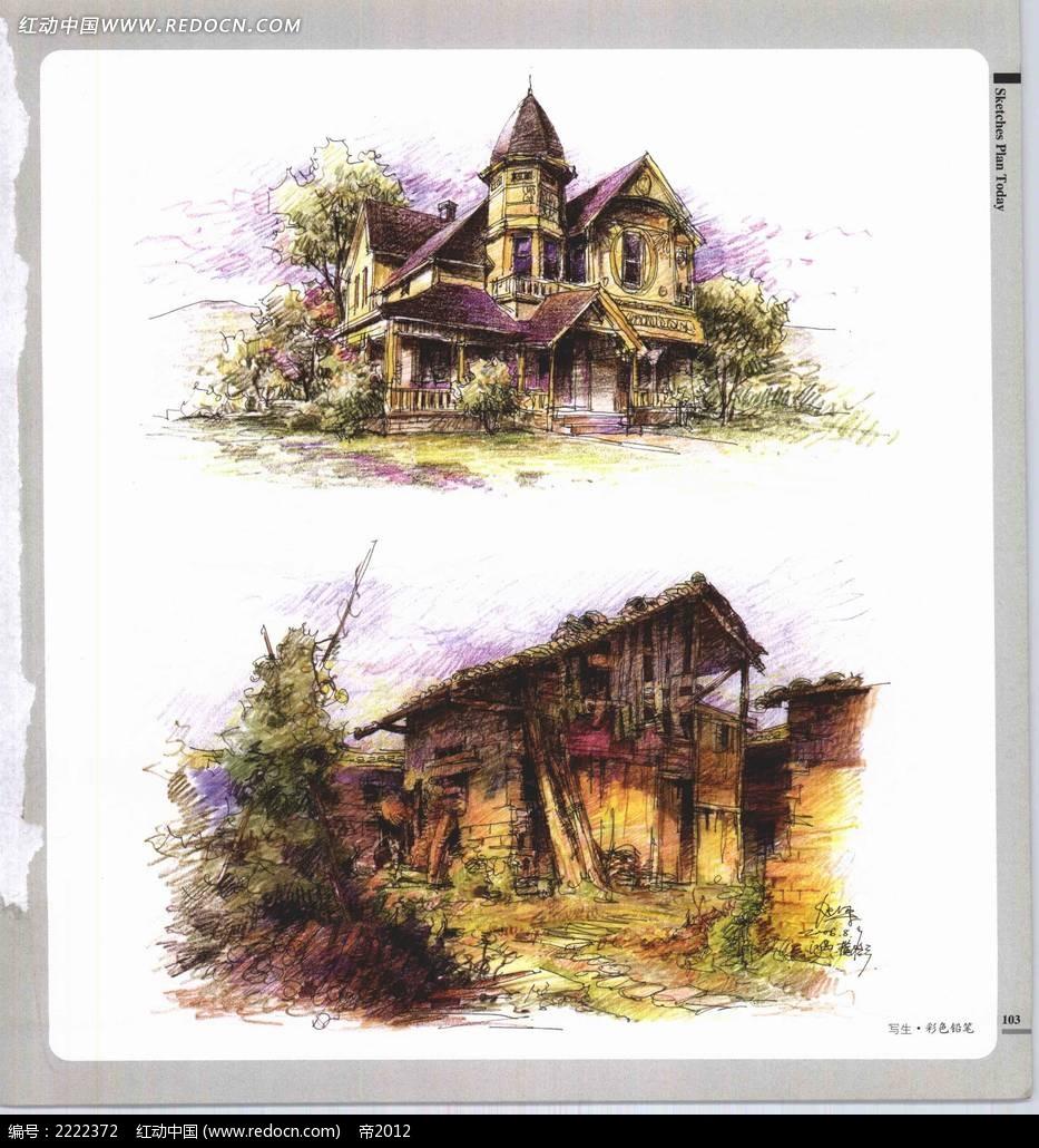 乡村民居手绘摄影图片素材_自然风景图片