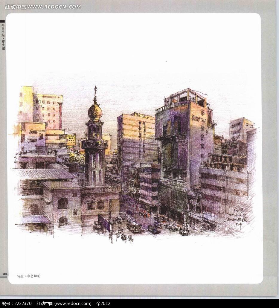 城市建筑手绘写生摄影图片