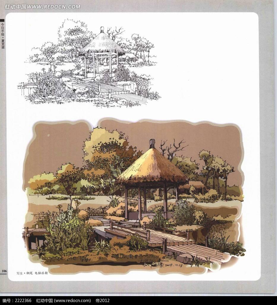 花园亭子建筑手绘电脑后期摄影图片