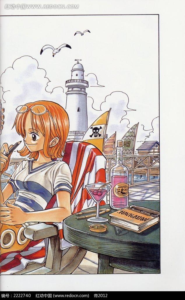 《海贼王》学习的女孩卡通彩稿画