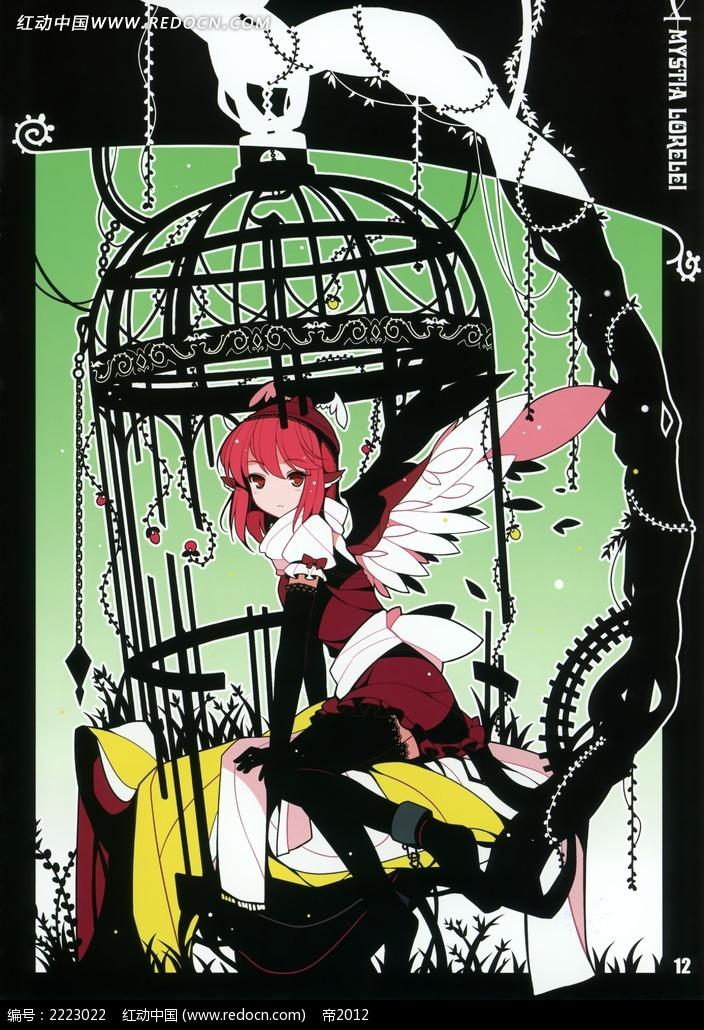 关在笼子里的美少女卡通彩稿画图片_人物卡通图片