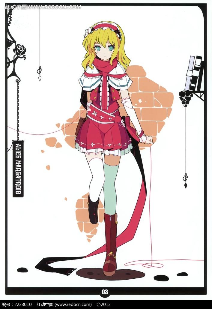 穿裙子的美少女卡通彩稿画