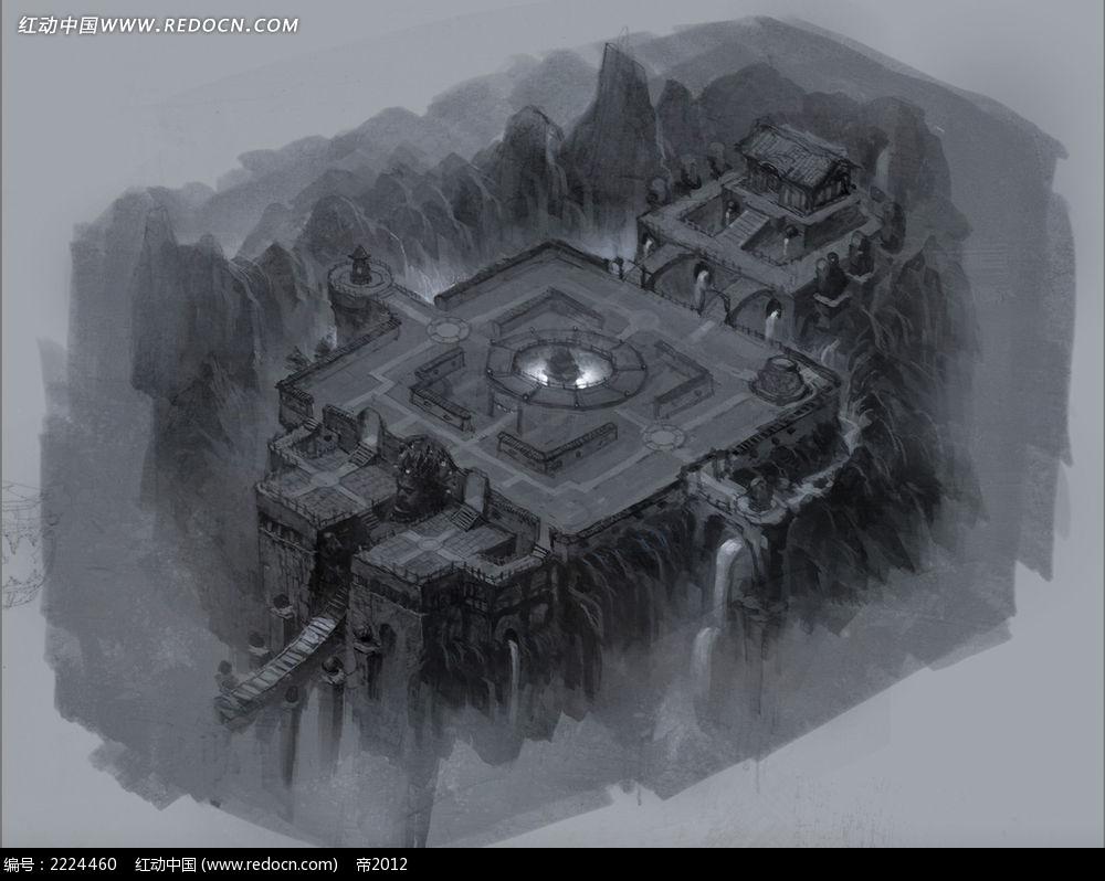 轩辕传奇魔城场景手绘彩稿画图片