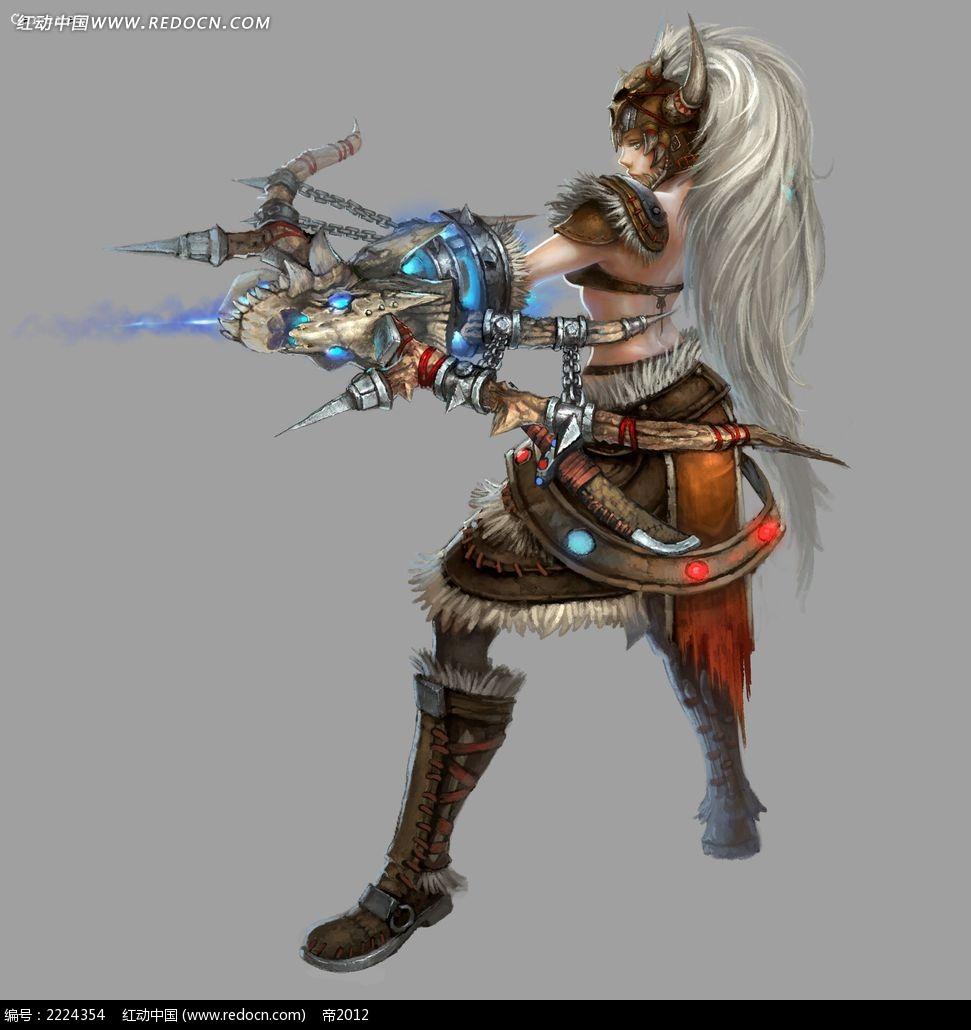 轩辕传奇武器美女手绘插画图片