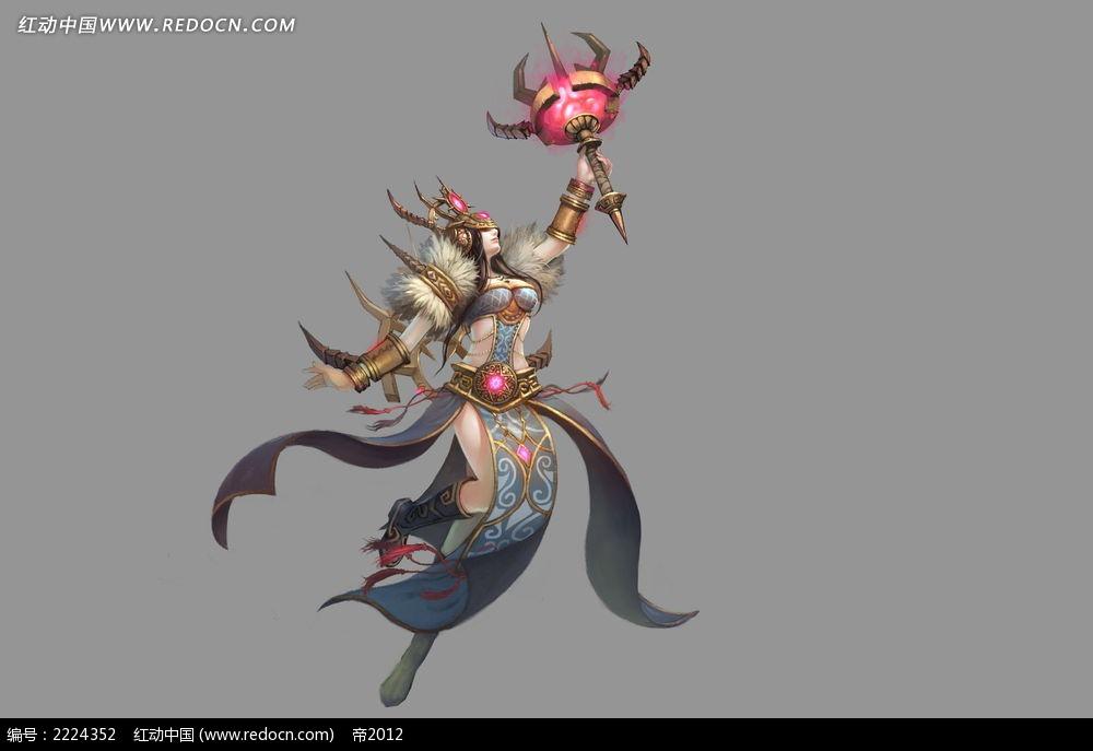 轩辕传奇美女战士手绘插画