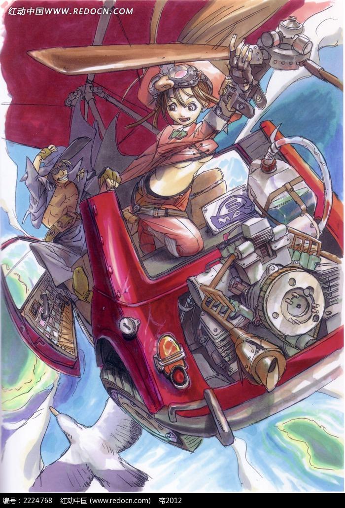 与恶魔决战的美少女手绘彩稿画