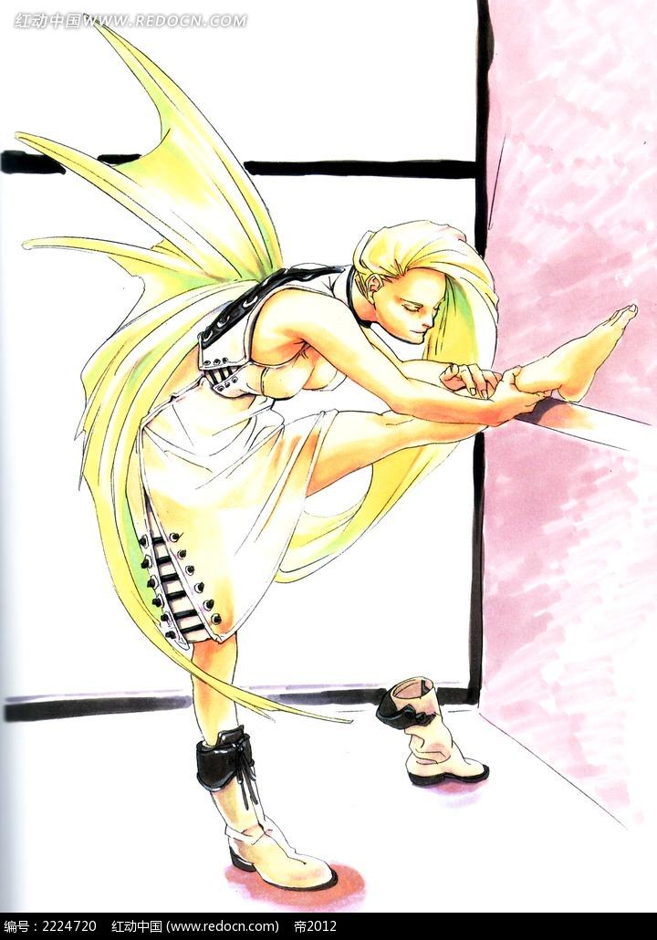 压腿的美少女手绘彩稿画_人物卡通图片