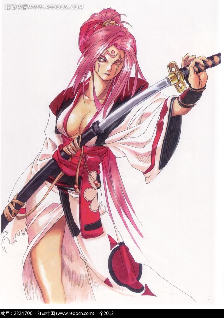 拔剑的美女战士手绘彩稿画图片