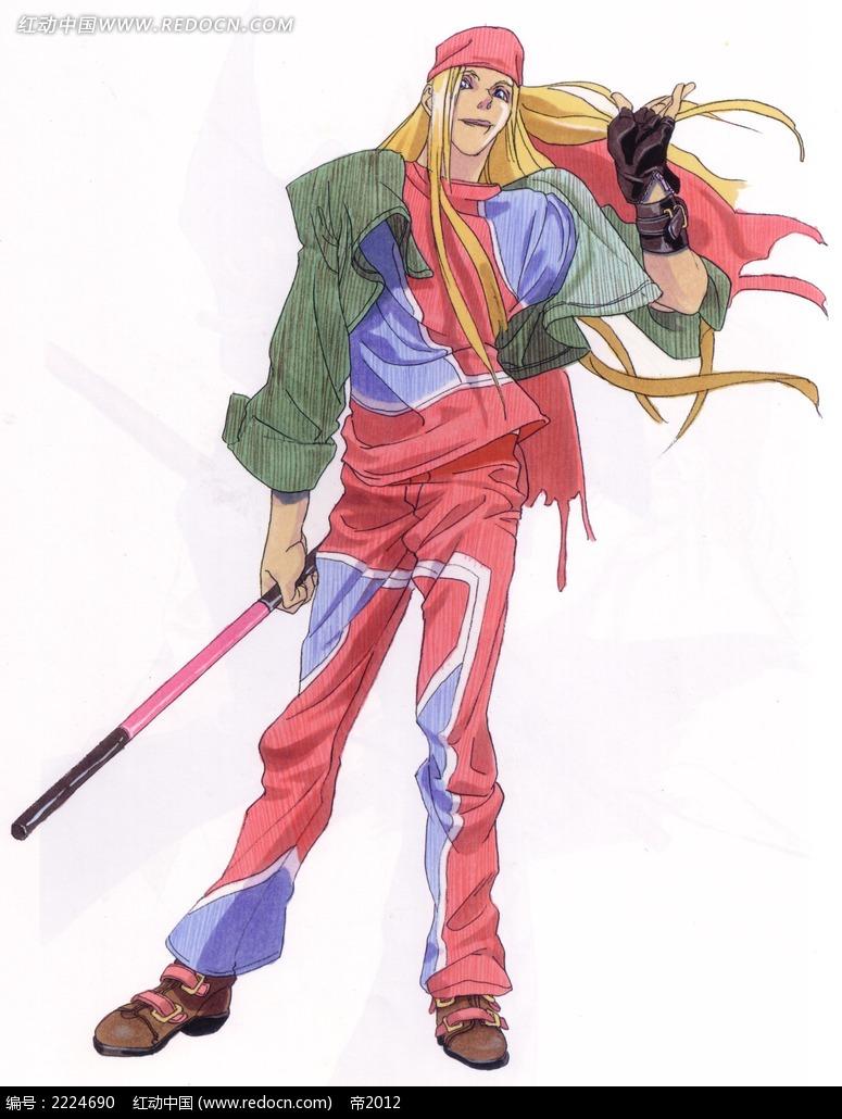 拿棍子的红衣男子手绘彩稿画_人