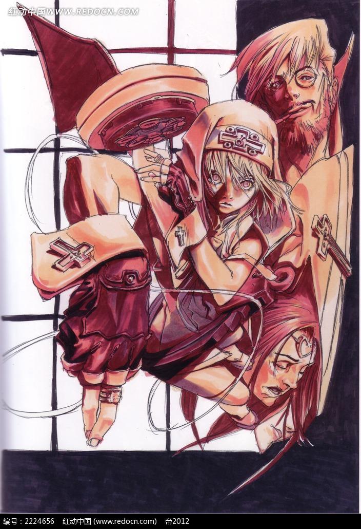 美少女战士手绘彩稿画