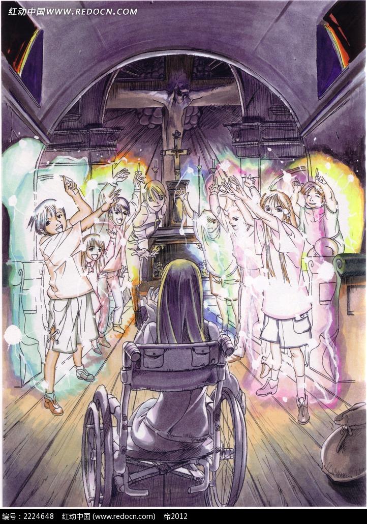地狱亡灵手绘彩稿画