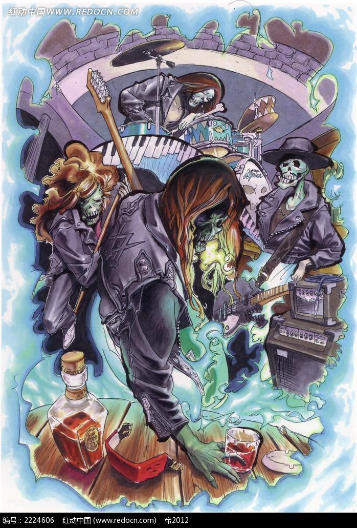 提箱子拿伞的魔鬼手绘彩稿画_人物卡通图片_红动手机版