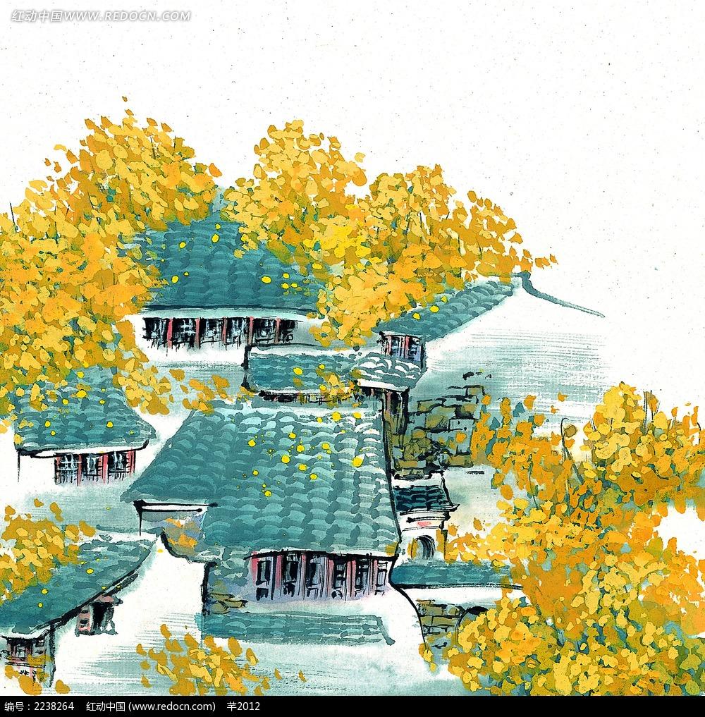 水墨畫江南水鄉的秋天jpg圖片