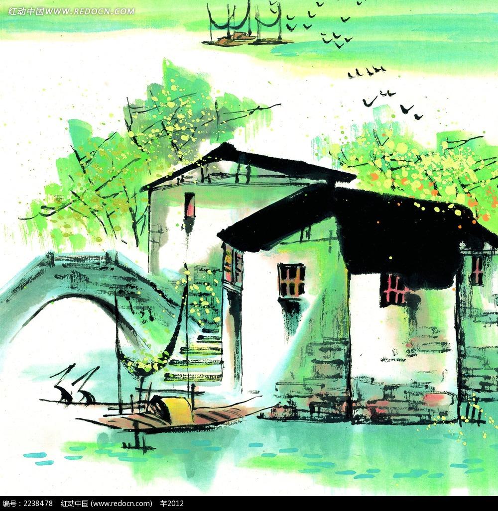 国画江南风景