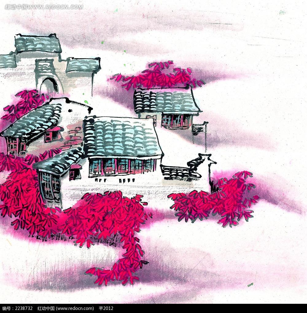 水墨畫秋天的江南水鄉jpg圖片