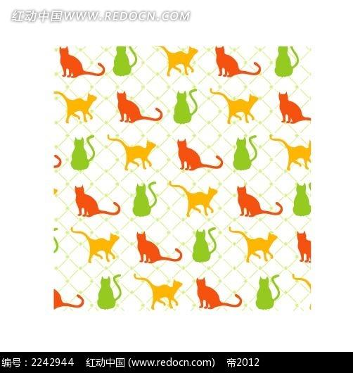 彩色猫底纹矢量背景