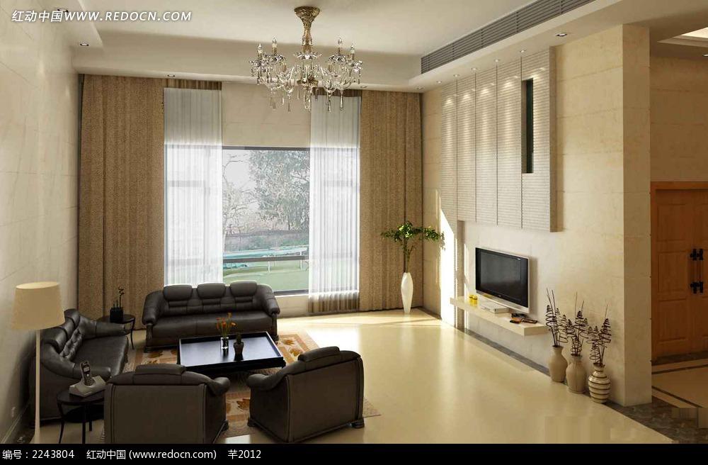 现代风格黑白对比客厅效果图