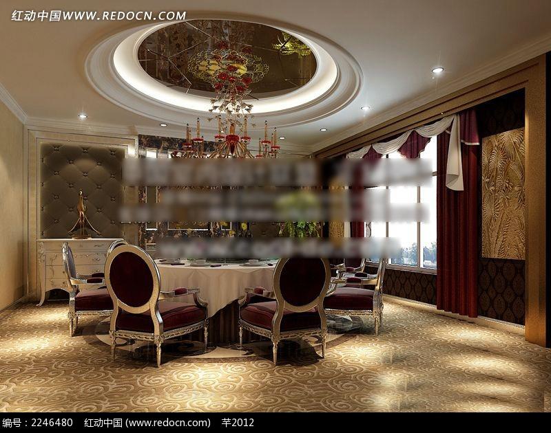 纯欧式风格餐厅包间设计图图片