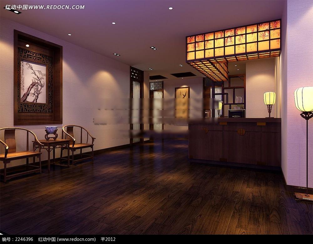 中式餐厅前台效果图图片