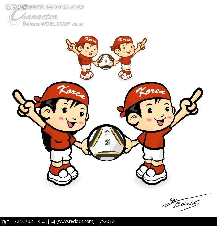 足球和男孩卡通手绘