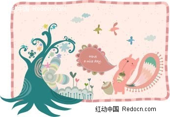咬着松果的小松鼠卡通插画AI素材免费下载 红动网