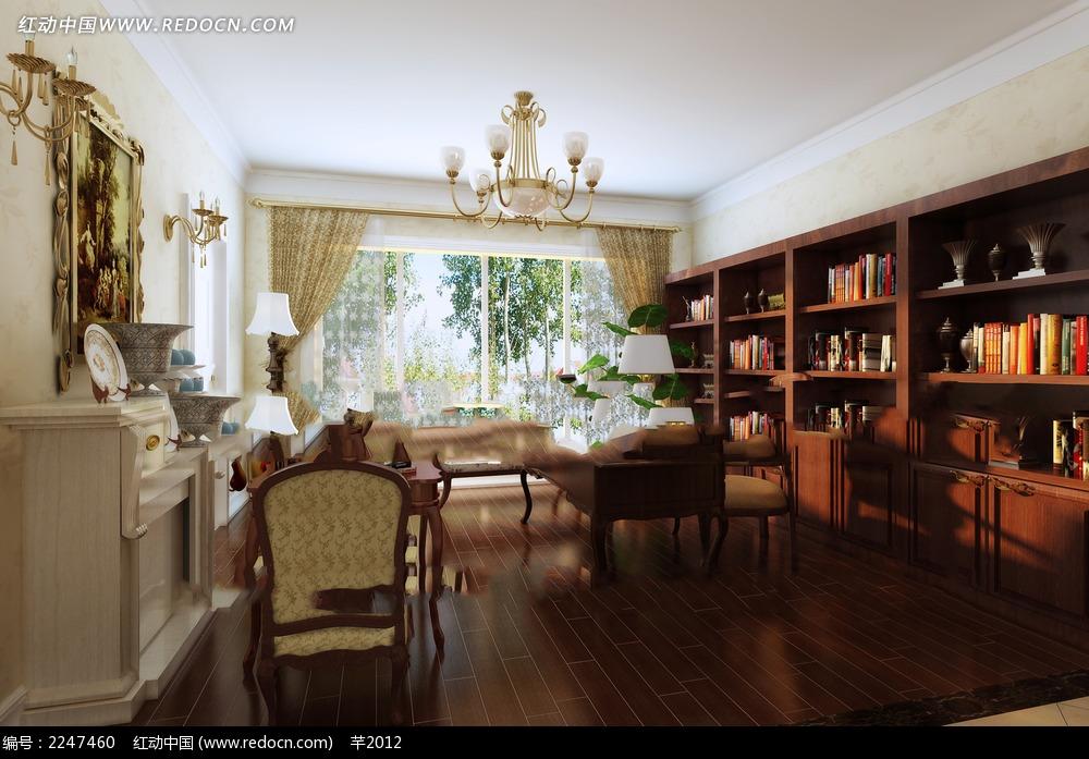 古典风格书房效果图片 效果图 欧式效果图 室内效果图 设计 3d设计