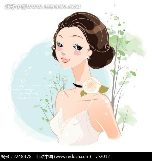美少女半身插图