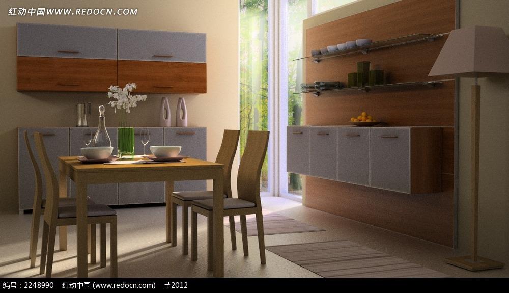 现代简约风格餐厅装修效果图3dmax免费下载 室内设计素材高清图片
