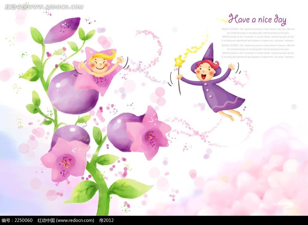卡通花朵小精灵背景