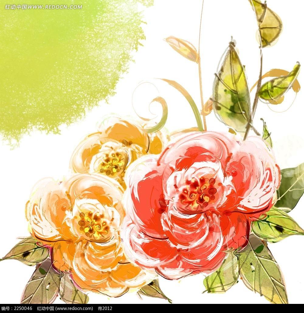 手绘复古月季花素材