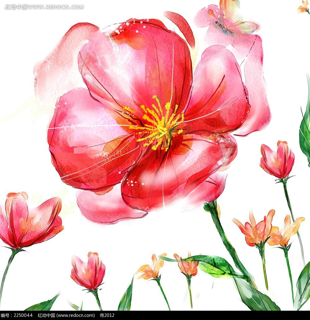 手绘红色花朵 素材 花纹花边 红动手机版