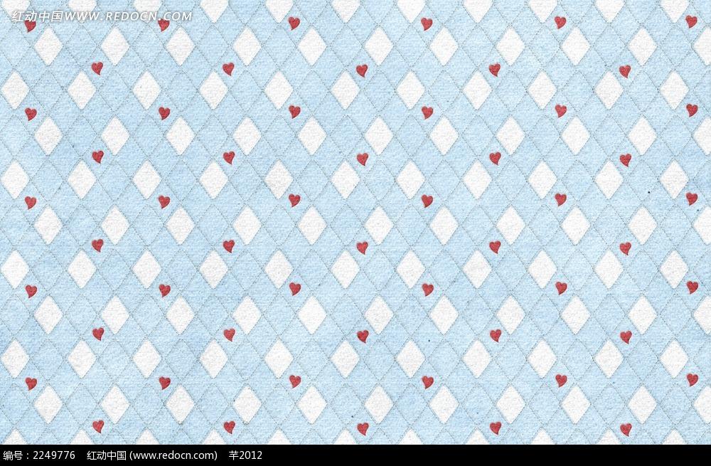 蓝白方格心形图案布纹背景JPG图片-花纹 花边