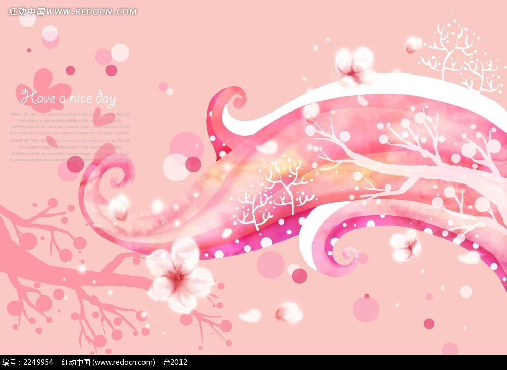 粉色樱花树枝背景素材