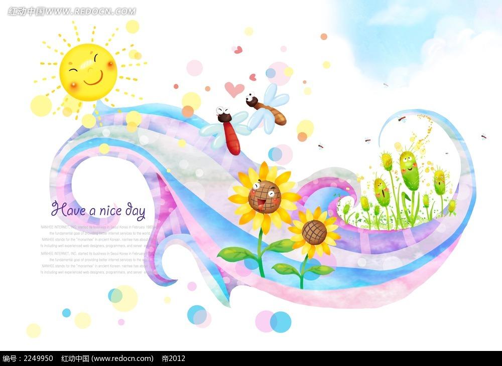 卡通蜜蜂向日葵背景素材