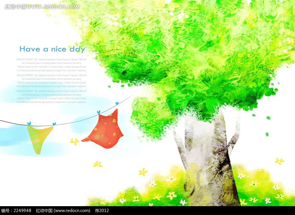 水彩大树背景素材