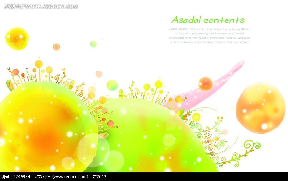 彩色花朵地球背景素材