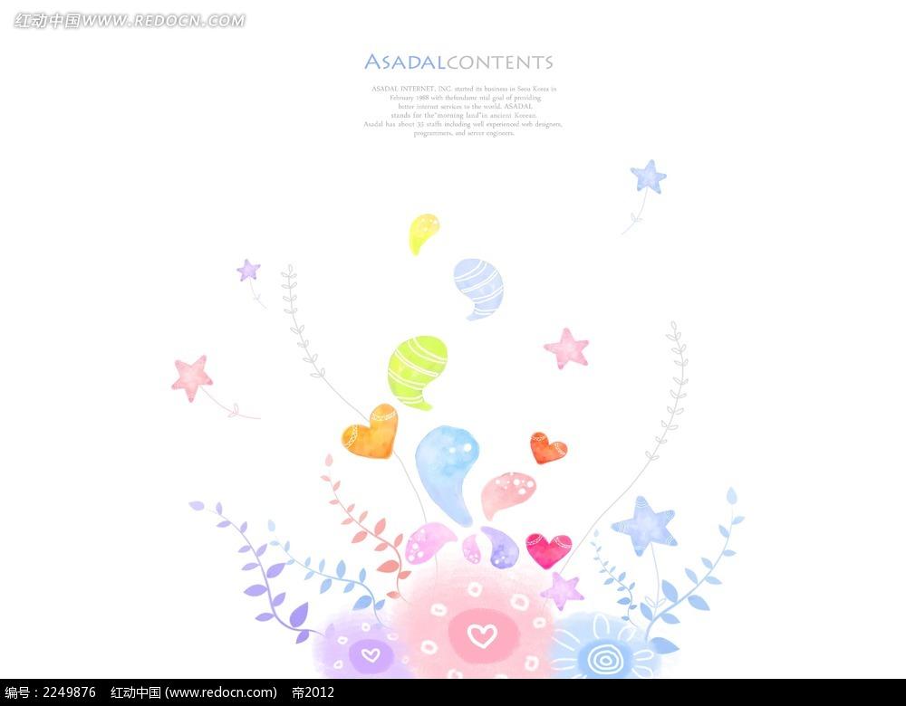 彩色花纹花藤素材