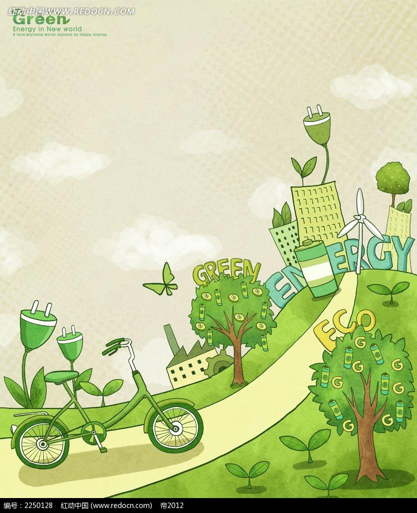 绿色自行车公路卡通海报psd免费下载_背景素材