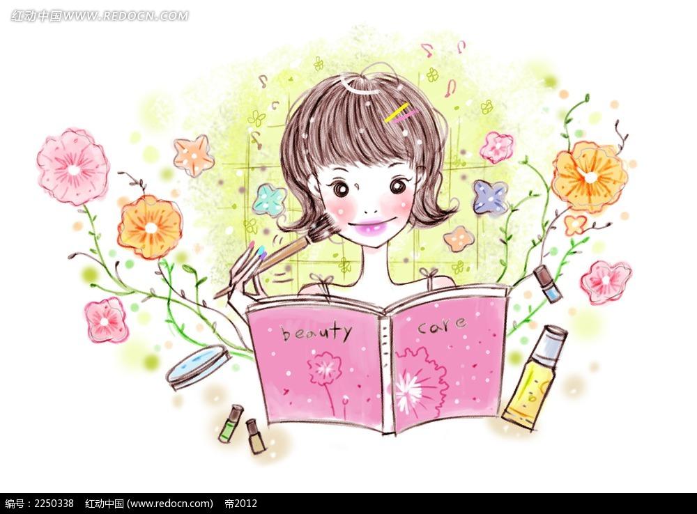 卡通化妆少女图片