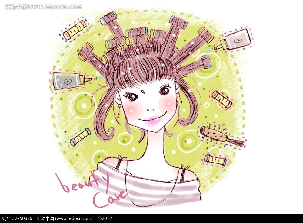 做发型卡通少女