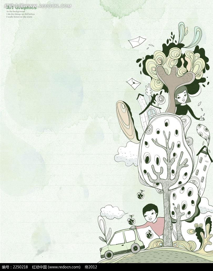 树木卡通背景素材图片